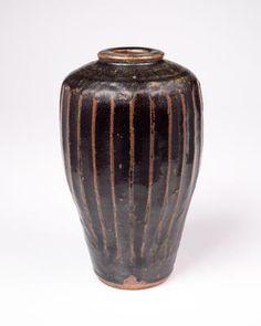 Bernard Leach, Vase with flattened shoulders and rim, stoneware, tenmoku glaze ...