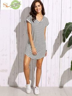 ce11e3ca18a Black White Striped Drop Shoulder Tshirt Dress