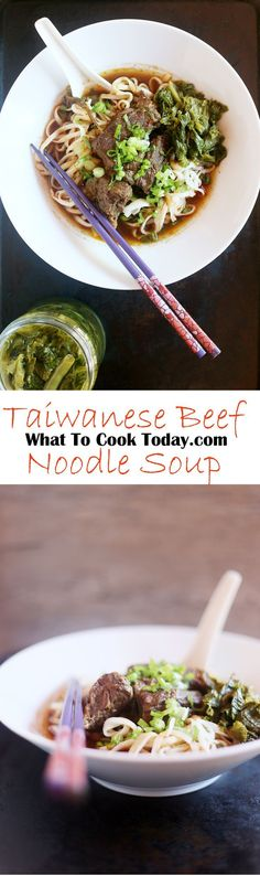 Comforting beef noodle soup packed with umami flavor and incredibly tender beef pieces will conquer any cold weather coming your way. Asian Recipes, Beef Recipes, Soup Recipes, Dinner Recipes, Cooking Recipes, Beef Noodle Soup, Beef And Noodles, Asian Noodles, Taiwanese Cuisine