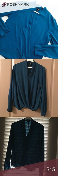 Aqua Teal Drape Sheer Blouse {EUC} Beautiful Blouse with Draped Front. •EUC •100% Polyester •Machine wash cold, gentle cycle •Tumble dry low Mossimo Supply Co. Tops Blouses