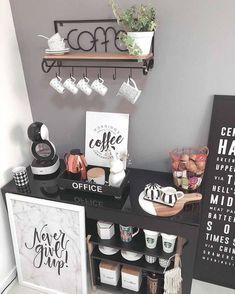 Coffee Bars In Kitchen, Coffee Bar Home, Home Coffee Stations, Coffe Bar, House Coffee, Coffee Tin, Coffee Shops, Starbucks Coffee, Coffee Area