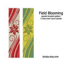 Field Blooming  2Drop Peyote Bracelet Pattern  INSTANT by lariata, $5.99