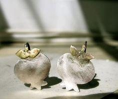 Handmade pom silver studs by Persian designer Behroo Bagheri from Alangoo.com. $95 USD #persian #handmade
