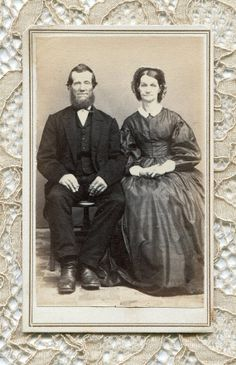 """This 19th century carte de visite photograph measures 2 3/8"""" x 4 """" and features an older couple. There is a tax stamp on the back dating the portrait to the civil war time. This photo was taken in Homer, New York and the subjects are identified as Abe Griffith and wife. (cdv35)"""