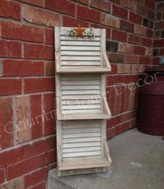 Shutters repurposed into Shelves roller shutters converted into shelves, . - Shutters repurposed into shelves, shutters turned into shelves, # stores Chec - Plastic Shutters, Diy Shutters, Window Shutters, Bedroom Shutters, Window Frames, Shutter Shelf, Shutter Decor, Shutter Projects, Wood Projects