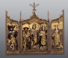 Winged altarpiece with the patron saints of the diocese of Wurzburg  Franconia, ca. 1470 80  Limewood, carved and painted, outer sides of wing panels painted