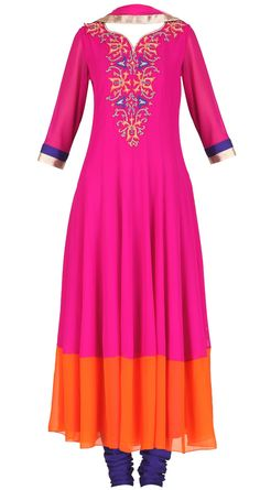Magenta anarkali with orange colour block hem available only at Pernia's Pop-Up Shop. Girls Fashion Clothes, Girl Fashion, Fashion Outfits, Fashion Design, Indian Attire, Indian Ethnic Wear, Indian Style, Pakistani Outfits, Indian Outfits