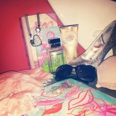 #girl #girly #things #stuff #red #room #pink #white #blue #black #purple #silver #heart #lips #scarf #gold #pearl #necklace #copybook #sunglasses #bra #sparkly #shoe #high #heels #book #lotion #belt