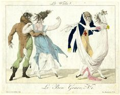 Plate 1: two couples dancing the waltz, dressed in costumes of the Incroyables and Merveilleuses.  1801?  Hand-coloured etching