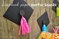Headed For A Bright Future neon graduation party treat table scrapbook paper mortar board with tissue tassels
