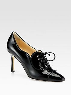Manolo Blahnik Timuzin Patent Leather Lace-Up Ankle Boots
