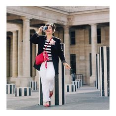 Blazer worn with striped tee, pants and red sandals and crossbody bag | Photo shared by Susanne Ackstaller | For more style inspiration visit 40plusstyle.com