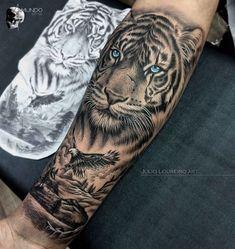 Eagle Tattoo Forearm, Lion Arm Tattoo, Tiger Tattoo Sleeve, Big Cat Tattoo, Forearm Sleeve Tattoos, Leg Tattoos, Tattoos For Guys, Justin Tattoo, Tiger Tattoo Design