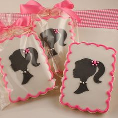 Girl Silhouette Cookies - 12 Decorated Sugar Cookies
