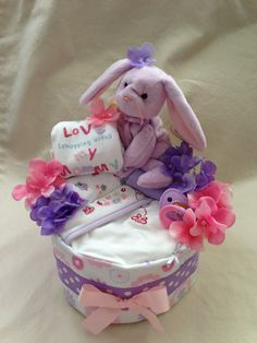 Baby Girl one tier Blanket Diaper Cake  an by SquirmyWorms on Etsy, $30.00