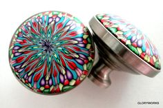 one day I will have these all over my house. Kalaidoscope  Cabinet Knobs/Pulls Red by gloryworks, $138.00