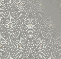 I'm in love with these people.  They offer wallpapers by ERA  Bradbury Art Deco Designs | Havana Retro Wallpaper in Pewter