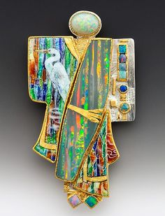 Pendant by Marianne Hunter - Kabuki Kachina, Wrapped in the presence of all colors, shares her gifts in natural wonders. Grisaille enamel and 24kt gold foil, .999 silver foil. Andamooka opal, coober pedy opal, Australian Opals, natural keshi pearls