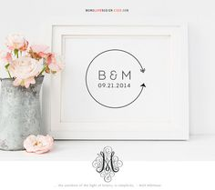 This is a pre-made wedding monogram logo design, perfect for save the date logo, wedding monogram design, personal monogram logo, family crest design, birthday gift, personal wall art, nursery decor or baby shower gifts. Please review the following before placing your order.  Size: 8x 8 Format: JPG + PDF + PNG (PDF & PNG transparent background)  You may pick your own color(s) for the letters at the time your order is placed, free of charge. Artworks used in the logo are not customizable. ...