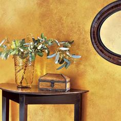 Decorative Paint Ideas: Shimmer Apply tinted mica-flecked glaze over gold- or copper-colored eggshell for the look of metal. about 36 per quart; Gold Paint Colors, Metallic Paint, Wall Colors, Colours, Gold Painted Walls, Tuscan Bathroom, Golden Wall, Glazed Walls, Faux Painting