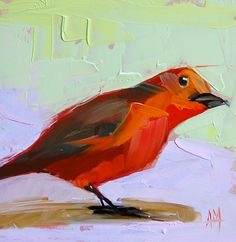 Tanager no. 12 original bird oil painting by moulton 6 x 6 inches on panel  prattcreekart on Etsy, $50.00