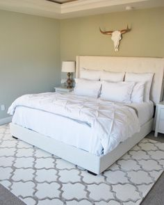Love the rug which shows good size/placement for use with king size bed.