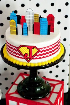 Kara's Party Ideas Superhero Party On A Budget Party Planning Ideas . Superhero Cake, Superhero Birthday Party, Boy Birthday Parties, 4th Birthday, Birthday Ideas, Superman Party, Superman Birthday, Cute Happy Birthday, Festa Party
