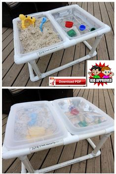 Sand Table plan/water table plan/sensory table plan/play station plan/outdoor tote plan/table top tote plan/pvc tote plan/outdoor game plan - The Best Outdoor Play Area Ideas Kids Outdoor Play, Backyard For Kids, Diy For Kids, Backyard Games, Outdoor Games, Outdoor Toys, Kids Outdoor Table, Outdoor Play Spaces, Outdoor Ideas