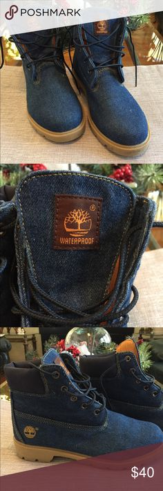 Timberland Boots Denim waterproof boots size 4 1/2 (child) or 6 women's. In excellent condition. Make an offer today Timberland Shoes Winter & Rain Boots