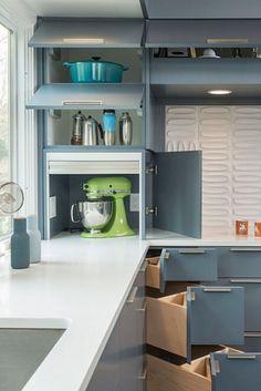 The Small Kitchen Appliance Storage Ideas Small Kitchen Solutions, Small Kitchen Ideas On A Budget, Kitchen Cabinets And Granite, Outdoor Kitchen Cabinets, Corner Cabinets, Corner Drawers, Kitchen Cabinet Design, Modern Kitchen Design, Clever Kitchen Storage