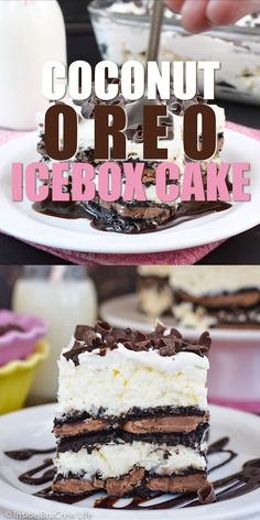 Coconut Oreo Icebox Cake - layers of coconut cheesecake and Oreo cookies make this the perfect no bake summer dessert. Oreo Icebox Cake, Icebox Cake Recipes, Dessert Recipes, Yummy Treats, Delicious Desserts, Kokos Desserts, Chocolates, No Bake Summer Desserts, Graham