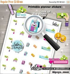 60%OFF - Tax Stickers, Printable Planner Stickers, Taxes, Pay Taxes, Erin Condren, Money Stickers, Kawaii Stickers, Planner Accessories, Rem