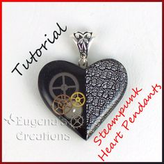 Tutorial, Steampunk Heart Pendants, Polymer clay, Resin, and Watch Parts