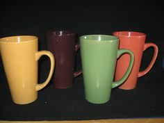 TALL COFFEE MUGS!!! Yes please....  Set 4 Tall 14oz Latte Mugs Rustic Colors Golden Yellow Green Raisin Apricot | eBay