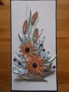Quilled Floral Design by: Unknown Artist Paper Quilling Flowers, 3d Quilling, Quilling Patterns, Quilling Designs, Quilling Cards, Iris Paper Folding, Paper Flower Arrangements, Paper Wall Art, Quilling Techniques