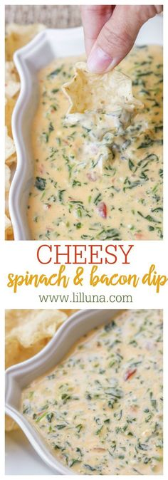 Cheesy Spinach and Bacon Dip - one of the easiest and most. Cheesy Spinach and Bacon Dip - one of the easiest and most delicious dips youll ever make! All it takes is cream cheese Velveeta spinach diced tomatoes and bacon! Spinach Bacon Dip, Bacon Bacon, Candied Bacon, Chopped Spinach, Fingers Food, Good Food, Yummy Food, Tasty, Cooking Recipes