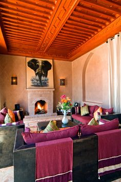 Rich Lounge Interiors at Villa El Boura, Marrakech Marrakesh, Marrakech Morocco, Outside Living, Glass Roof, Double Bedroom, Maine House, Luxury Villa, Dining Area, Swimming Pools