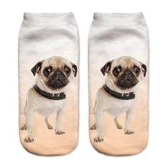 Pug Dog Printed Cool Men's Ankle Socks
