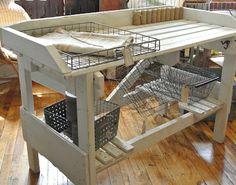 Barn Loft-repurposed garden bench now a kitchen island