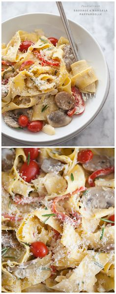 Creamy Sausage and Marsala Pappardelle Pasta with Tomatoes and Bell Peppers #recipe on foodiecrush.com