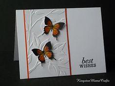 leaves and butterflies card ~ embossing folders/dies.