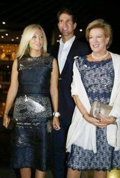 Noblesse et Royautés:  50th Wedding Anniversary Celebration for King Constantine and Queen Anne-Marie, Athens, Greece, September 17, 2014-Crown Princess (Marie Chantal) and Crown Prince Pavlos with Queen Anne-Marie