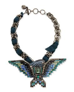 Short Crystal Eagle Necklace, Teal by Lanvin at Bergdorf Goodman.