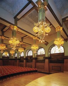Ganz Hall. Auditorium Building, Chicago Illinois. 1889. Louis Sullivan and Dankmar Adler. Frank Lloyd Wright was a draftsman for this project.