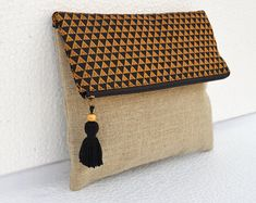 VLiving Boho Linen pouch brocade bag Black and gold Triangle pattern Moroccan Foldover clutch inches Boho Clutch, Diy Clutch, Foldover Clutch, Linen Bag, Linen Fabric, Cotton Fabric, Diy Sac, Triangle Pattern, Handmade Bags