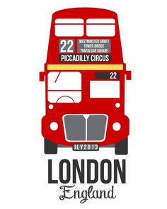 #flat #design #poster: British Favorites 2 Prints Double Decker Bus di TheBellaPrintShop