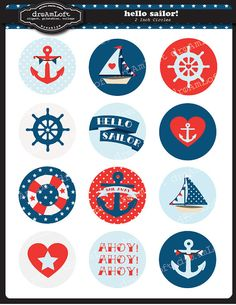 Hello Sailor 2 inch Round Printable Circles for stickers, cupcake toppers, cards, stationary, invita Sailor Baby Rooms, Baby Shower Marinero, Teddy Bear Party, Baby Shawer, Nautical Party, Bottle Cap Images, All Paper, Boy Birthday Parties, Baby Boy Shower