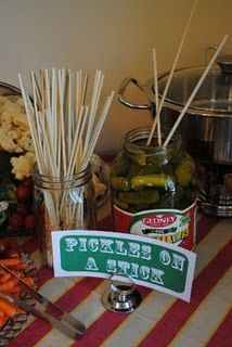 Pickles on a stick easier than mini pickle jars. Carnival Birthday Parties, Circus Party, White Trash Party, White Trash Costume, Carnival Food, Circus Food, State Fair Party, Country Fair Party, Redneck Birthday