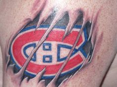 Le CH se démarque / The CH tearing through Montreal Canadiens, Cool Tattoos, Tatoos, Animal Tattoos, Tatting, Hockey, Body Art, Piercings, Nhl