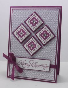 handmade Christmas card ... white and purple .. matted inches in diamond formation ... lots of layers ... Stampin' Up!